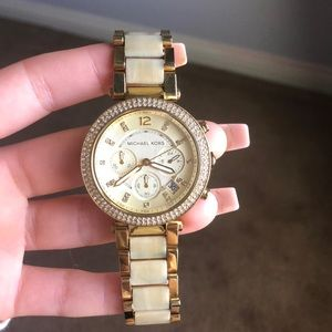 MICHAEL KORS GOLD AND ACETATE WATCH